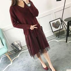 Kofushi - Mock Two-Piece Knit Dress