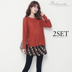 Stylementor - Set: Dual-Pocket Knit Top + Drop-Waist Check Skirt
