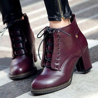 Mancienne - Faux-Leather Lace-Up Ankle Boots