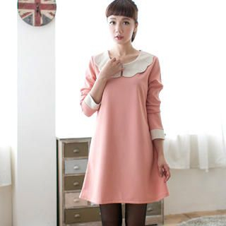 CatWorld - Long-Sleeve Scallop-Collar A-Line Dress