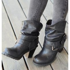 REDOPIN - Faux-Leather Buckled Boots