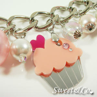Sweet & Co. - Pink Cupcake Swarovski Crystal Charm Silver Bracelet