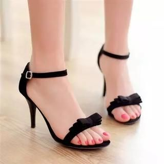 Shoes Galore - Ankle-Strap Bow-Accent Heel Sandals