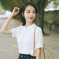 sansweet - Stand Collar Short-Sleeve Shirt