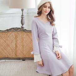 Tokyo Fashion - Long-Sleeve Paneled Bow-Accent Dress