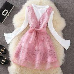 Clementine - 套裝: 純色長袖T恤 + 蕾絲A字裙