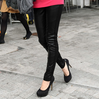 SO Central - Faux Leather Panel Skinny Pants