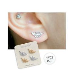 Miss21 Korea - Feather Stud Earrings (4 pcs)