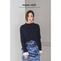 migunstyle - Round-Neck Dip-Back Knit Top