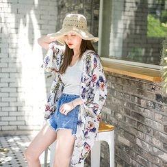 Envy Look - Open-Front Floral Print Cardigan