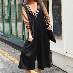 Fashion Street - Cropped Wide Leg Pinafore Jumpsuit