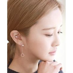 Miss21 Korea - Faux-Pearl Hexagon Dangle Earrings