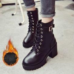 BARCA - Platform Lace Up Short Boots
