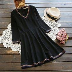 YOYO - Striped Trim A-Line Dress