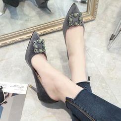 QQ Trend - 水钻饰扣尖头高跟鞋