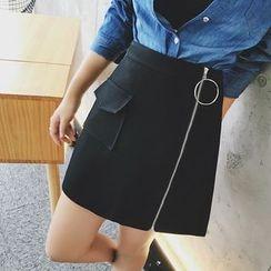Jack Grace - Hoop Zipped A-Line Skirt