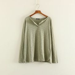 Mushi - Split Neck Long Sleeve T-Shirt
