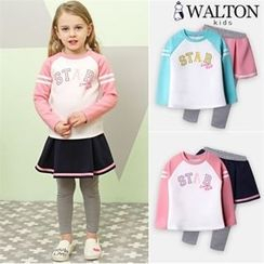 WALTON kids - Girls Set: Contrast-Sleeve T-Shirt + Inset Mini Skirt Leggings