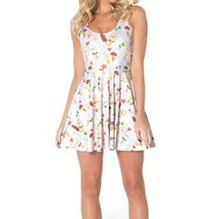 Omifa - Sleeveless Ice Cream-Print A-Line Dress