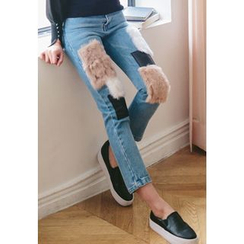 REDOPIN - Faux-Fur Detail Straight-Cut Jeans