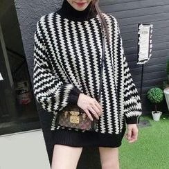 Fashion Street - Wavy Striped Turtleneck Sweater