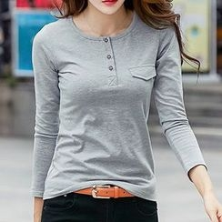 Fashion Street - Plain Long Sleeve Henley T-Shirt