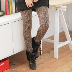 RingBear - Brushed Fleece-Lining Leopard-Print Leggings