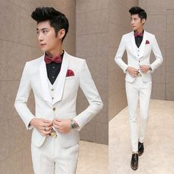 Besto - Set: Plain Blazer + Vest + Pants