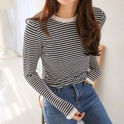 PPGIRL - Round-Neck Stripe T-Shirt