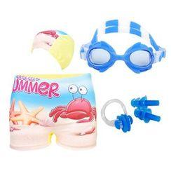 Aqua Wave - 儿童套装: 游泳短裤 + 泳帽 + 鼻夹 + 风镜