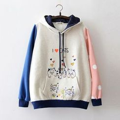 Tulander - Cat Print Color Block Hoodie