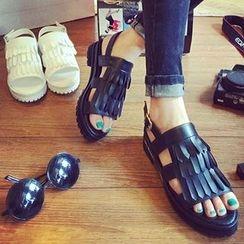 Mancienne - Cutout Wedge Sandals