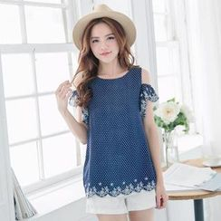 Tokyo Fashion - Cutaway-Sleeve Ruffled Embroidered Dotted Top