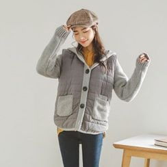 JUSTONE - Hood Quilted-Panel Buttoned Cardigan