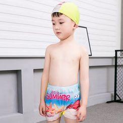 Aqua Wave - 兒童套裝: 印花游泳短褲 + 泳帽 + 風鏡