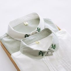 Bonbon - Embroidered Pleated Shirt