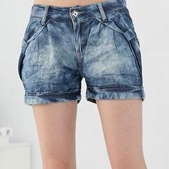 RingBear - 蝴蝶结渲染弹性裤头薄牛仔短裤