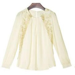 Ringnor - Lace-Overlay Pleated Chiffon Blouse