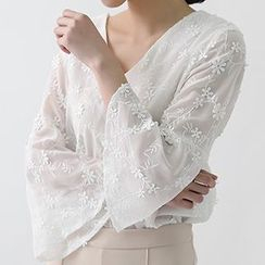 ELLY - Embroidered V-Neck Bell-Sleeve Chiffon Blouse