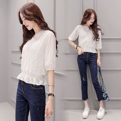 AiSun - Set : Elbow-Sleeve Lace Top + Skinny Jeans
