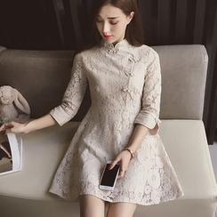 Cocofield - 3/4 Sleeve Lace Cheongsam