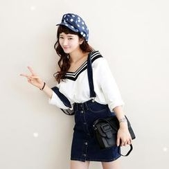 Koo - Detachable Suspender Denim Skirt