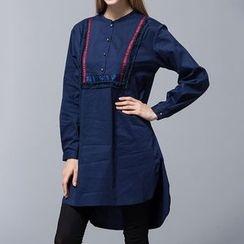 Liya Closet - Applique Buttoned Long Sleeve Tunic