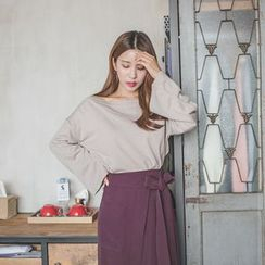 WITH IPUN - Boat-Neck Wide-Sleeve Knit Top