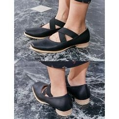 FROMBEGINNING - Square-Toe Banded Pumps