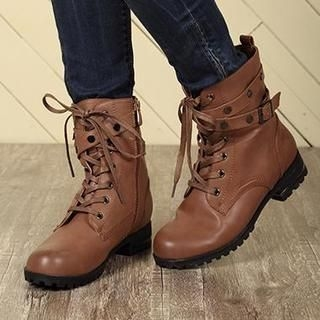 Exull - Belted Lace-Up Short Boots