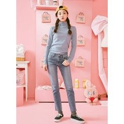 icecream12 - Fray-Hem Washed Straight-Cut Jeans