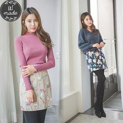WITH IPUN - Floral Print Mini Skirt