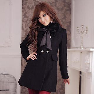 JK2 - Faux-Fur Collar Double-Breasted Coat