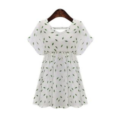 GRACI - Leaves Printed Short-Sleeve Dress